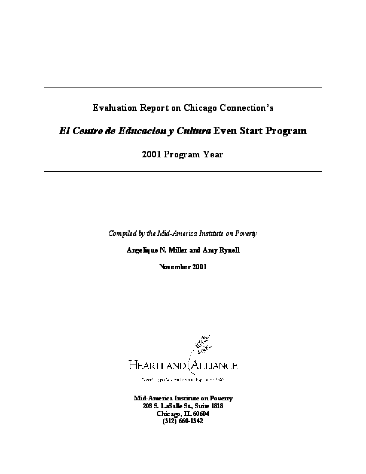 Evaluation Report on Chicago Connection's Refugee Even Start Program