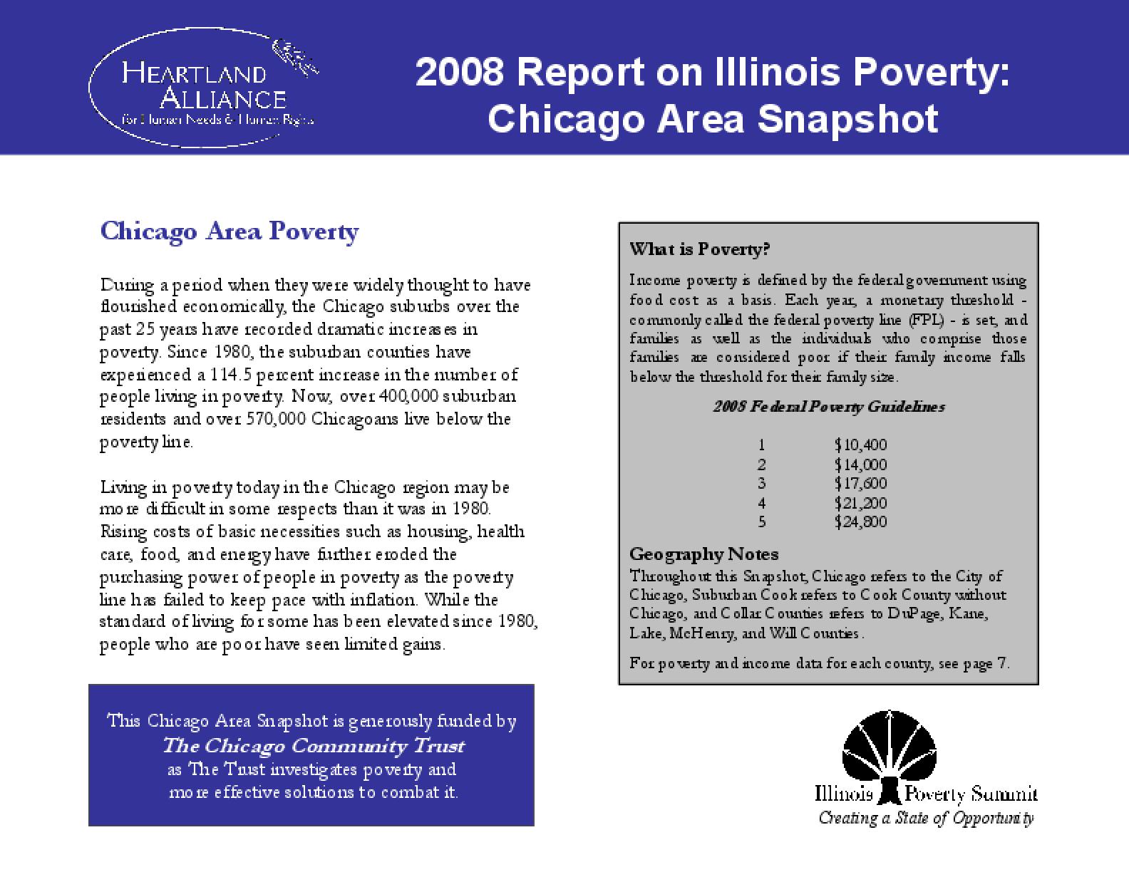 2008 Report on Illinois Poverty: Chicago Area Snapshot