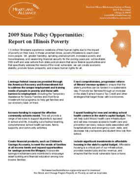 State Policy Opportunities: Report on Illinois Poverty 2009