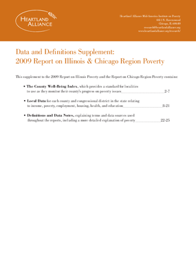 Data and Definitions Supplement: 2009 Report on Illinois & Chicago Region Poverty