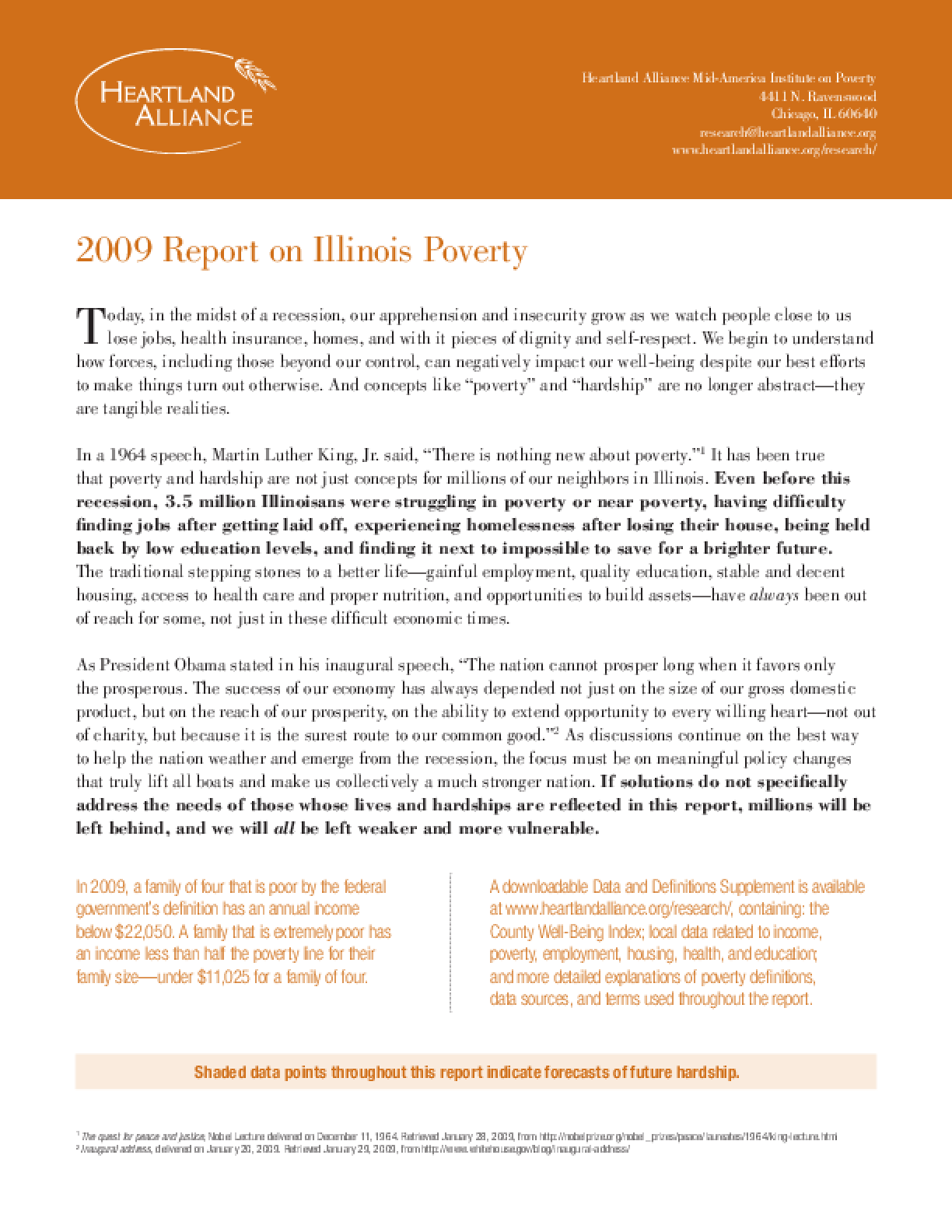 2009 Report on Illinois Poverty