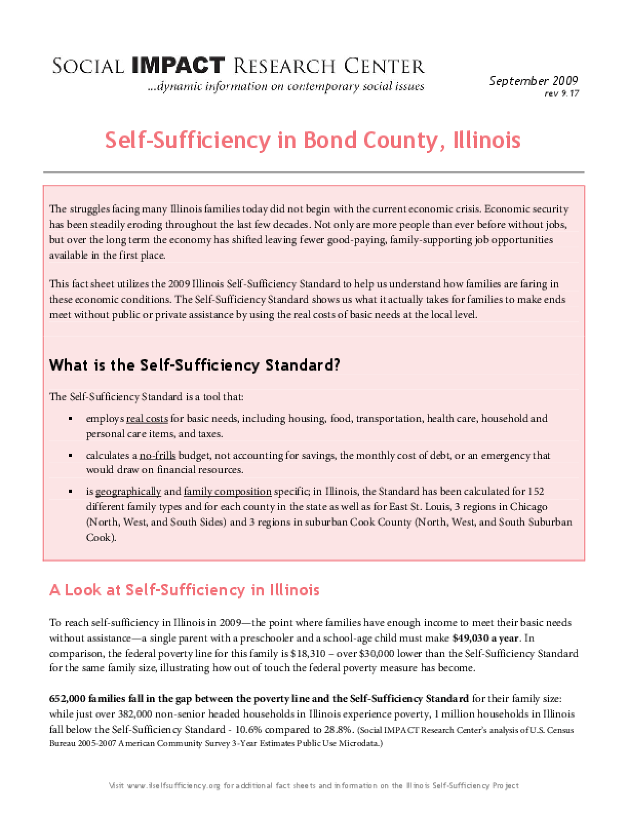 Self-Sufficiency in Bond County, Illinois