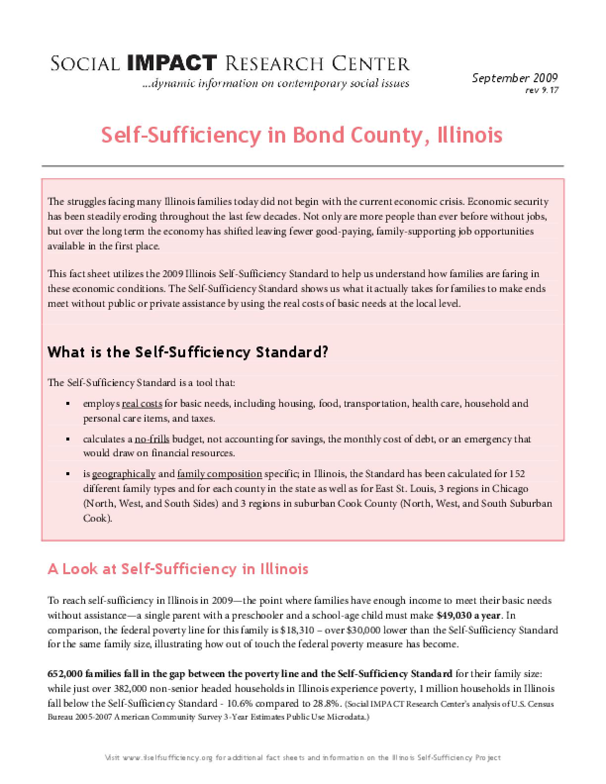 Self-Sufficiency in Bond County, Illinois