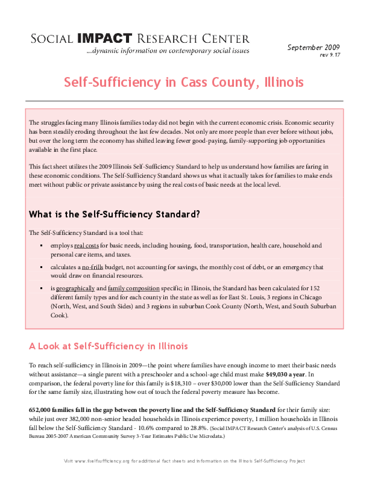 Self-Sufficiency in Cass County, Illinois