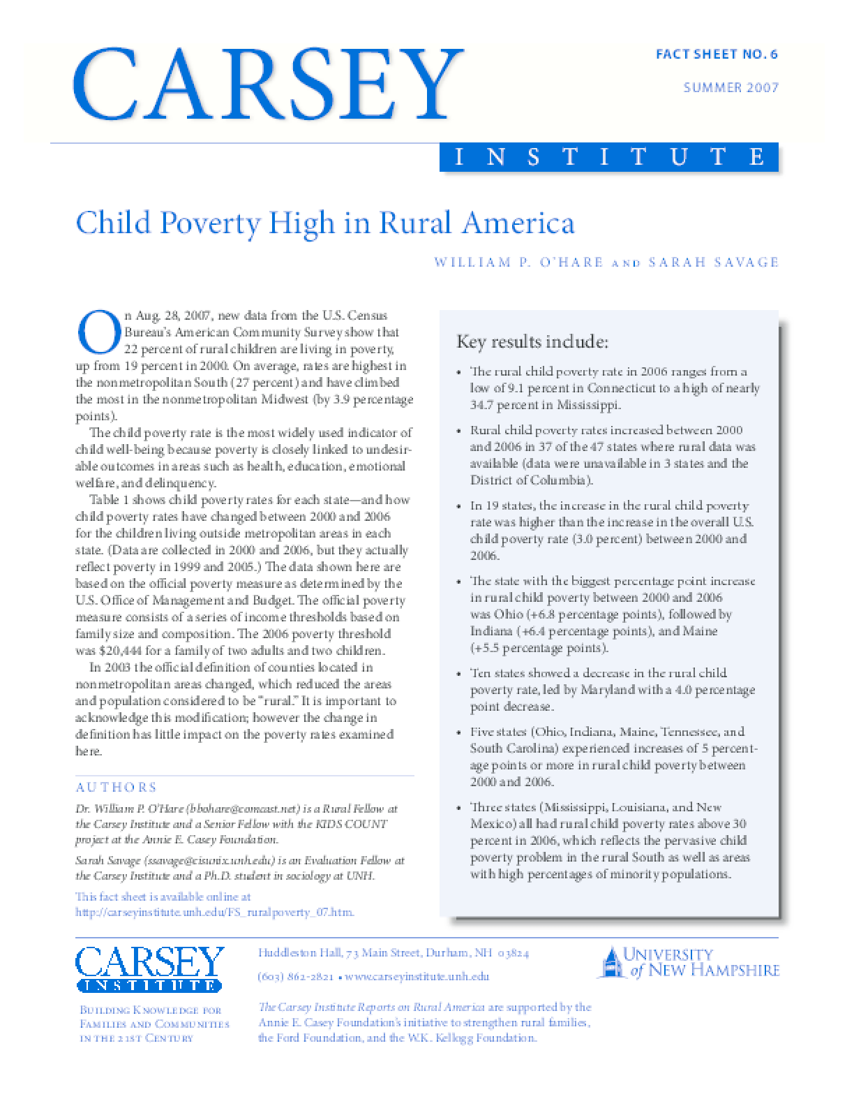 Child Poverty High in Rural America