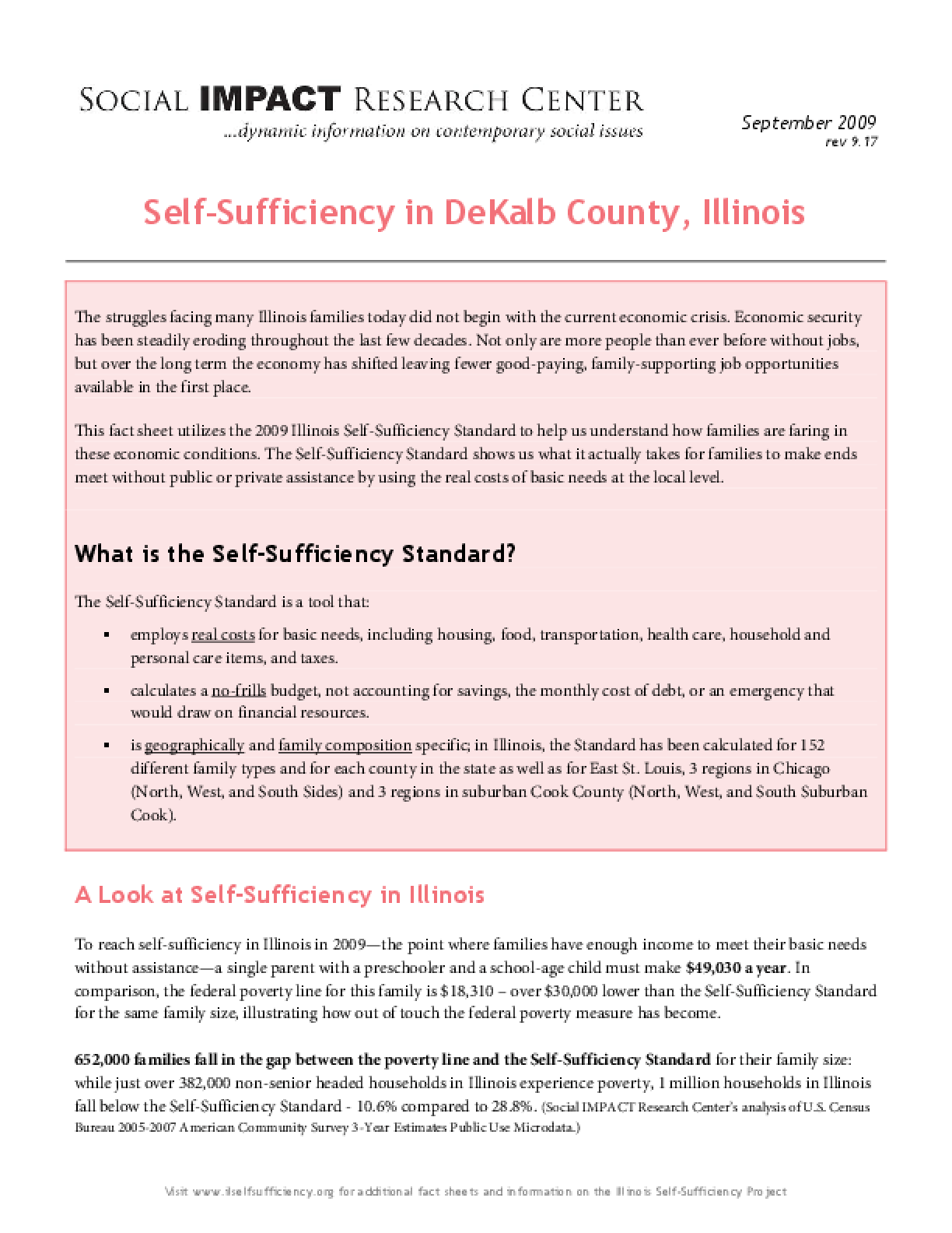 Self-Sufficiency in DeKalb County, Illinois
