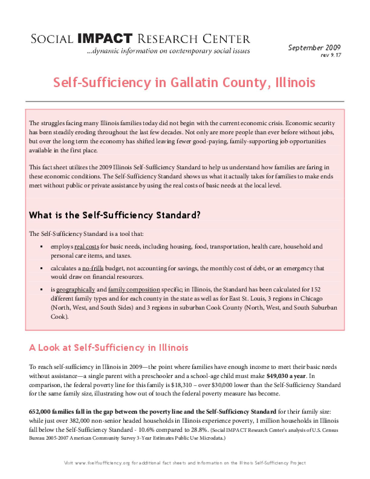 Self-Sufficiency in Gallatin County, Illinois