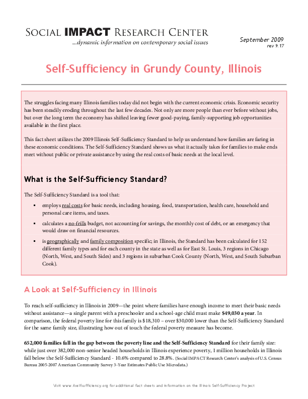 Self-Sufficiency in Grundy County, Illinois