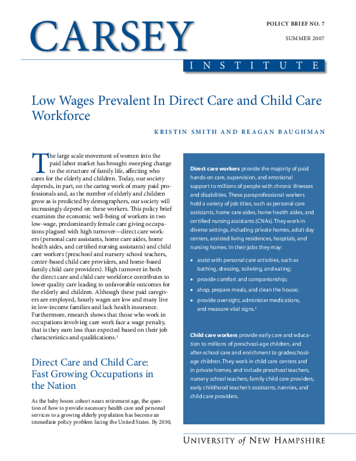 Low Wages Prevalent In Direct Care and Child Care Workforce