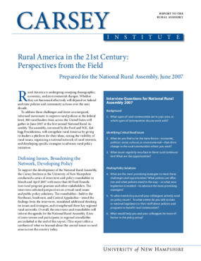 Rural America in the 21st Century: Perspectives from the Field