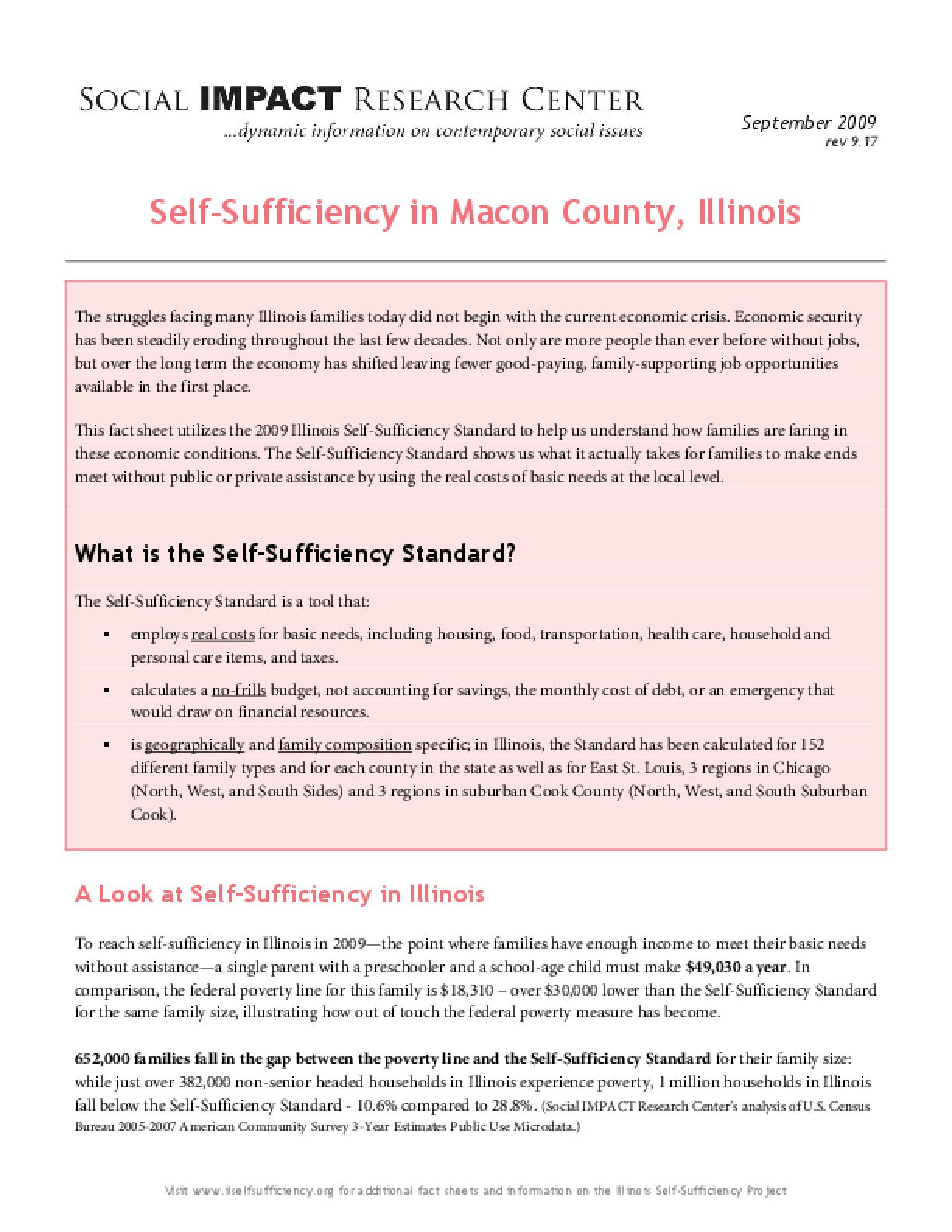 Self-Sufficiency in Macon County, Illinois