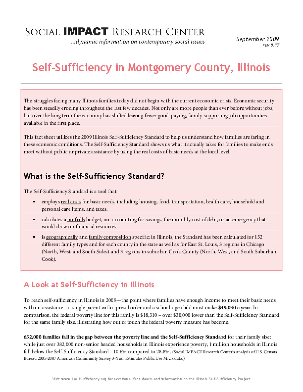 Self-Sufficiency in Montgomery County, Illinois