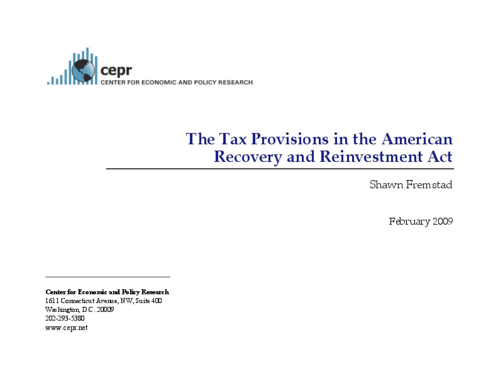 The Tax Provisions in the American Recovery and Reinvestment Act