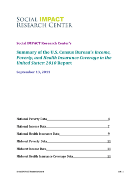 Summary of the U.S. Census Bureau's Income, Poverty, and Health Insurance in the United States: 2010 Report