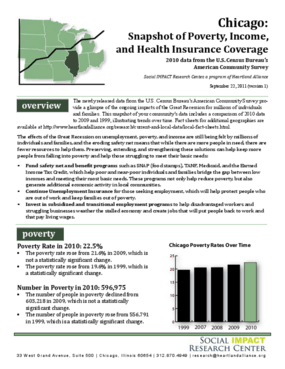 Chicago: Snapshot of Poverty, Income, and Health Insurance Coverage, 2010 Data from the U.S. Census Bureau's American Community Survey