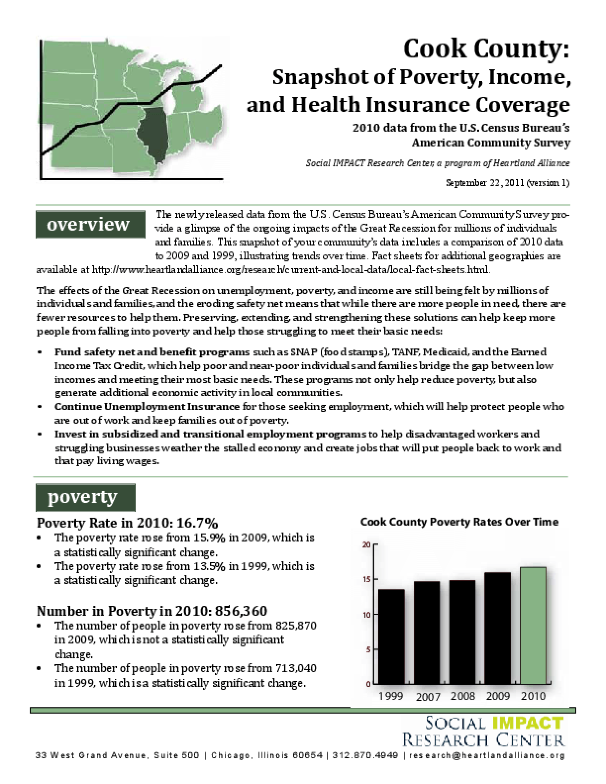 Cook County: Snapshot of Poverty, Income, and Health Insurance Coverage, 2010 Data from the U.S. Census Bureau's American Community Survey
