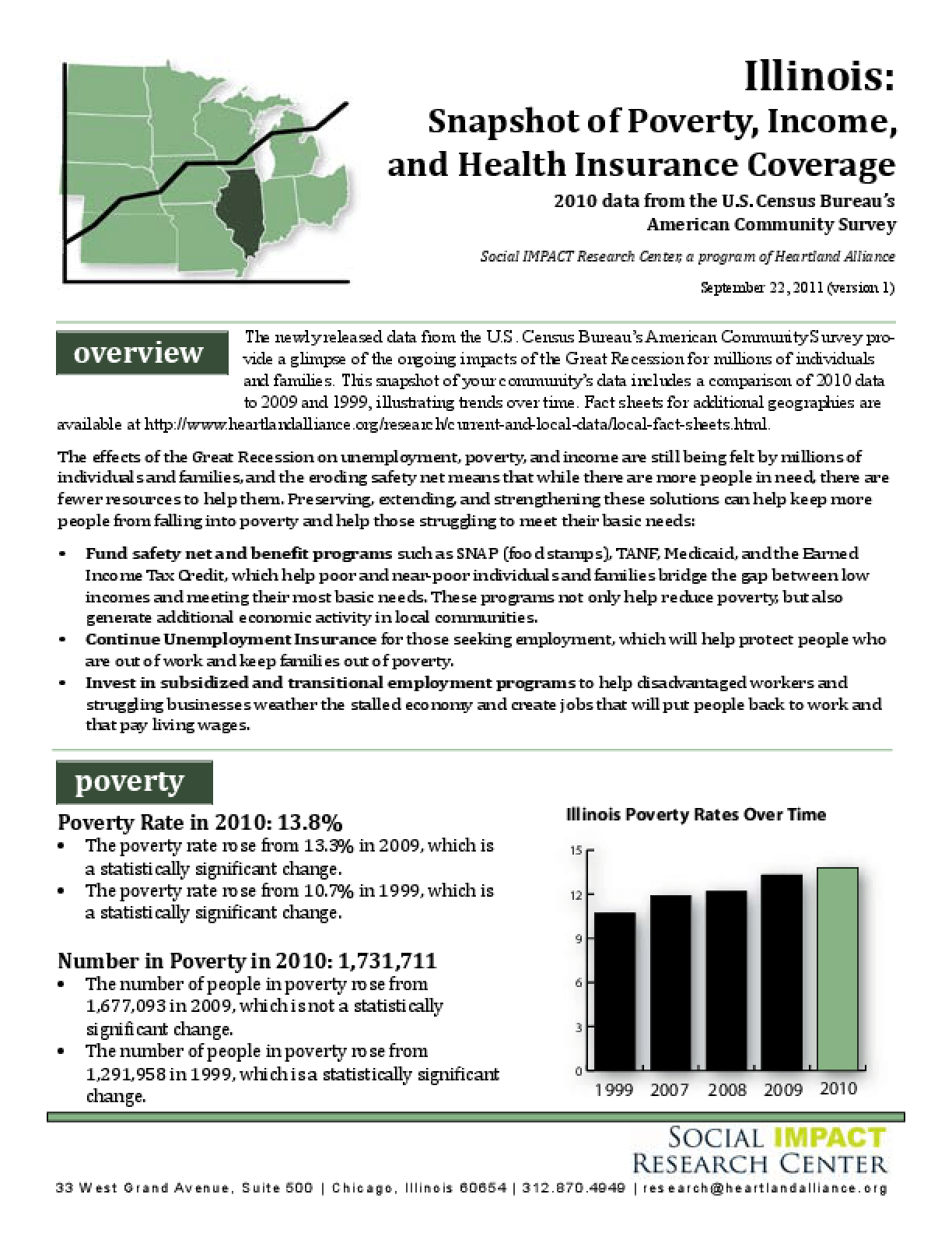Illinois: Snapshot of Poverty, Income, and Health Insurance Coverage, 2010 Data from the U.S. Census Bureau's American Community Survey