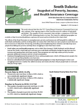 South Dakota: Snapshot of Poverty, Income, and Health Insurance Coverage