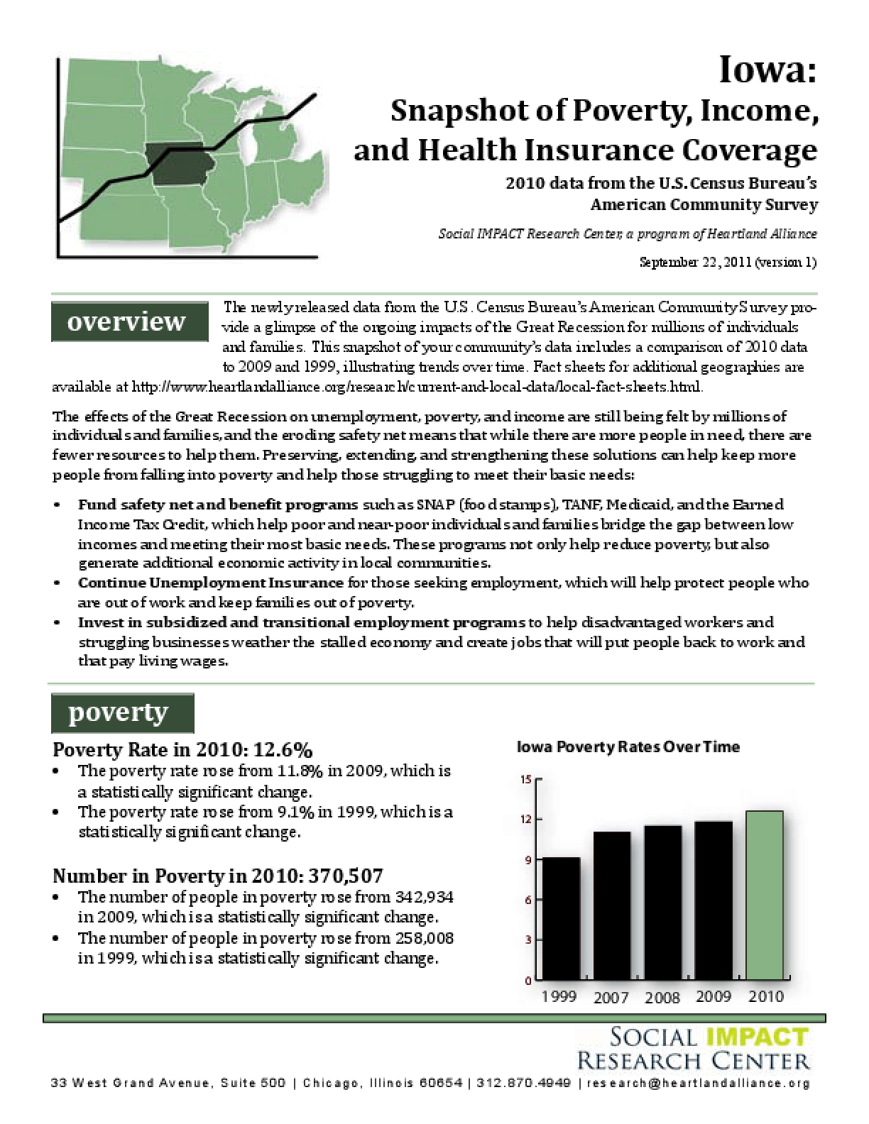 Iowa: Snapshot of Poverty, Income, and Health Insurance Coverage