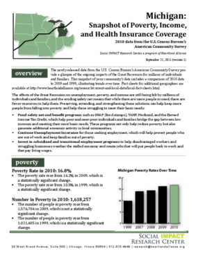 Michigan: Snapshot of Poverty, Income, and Health Insurance Coverage