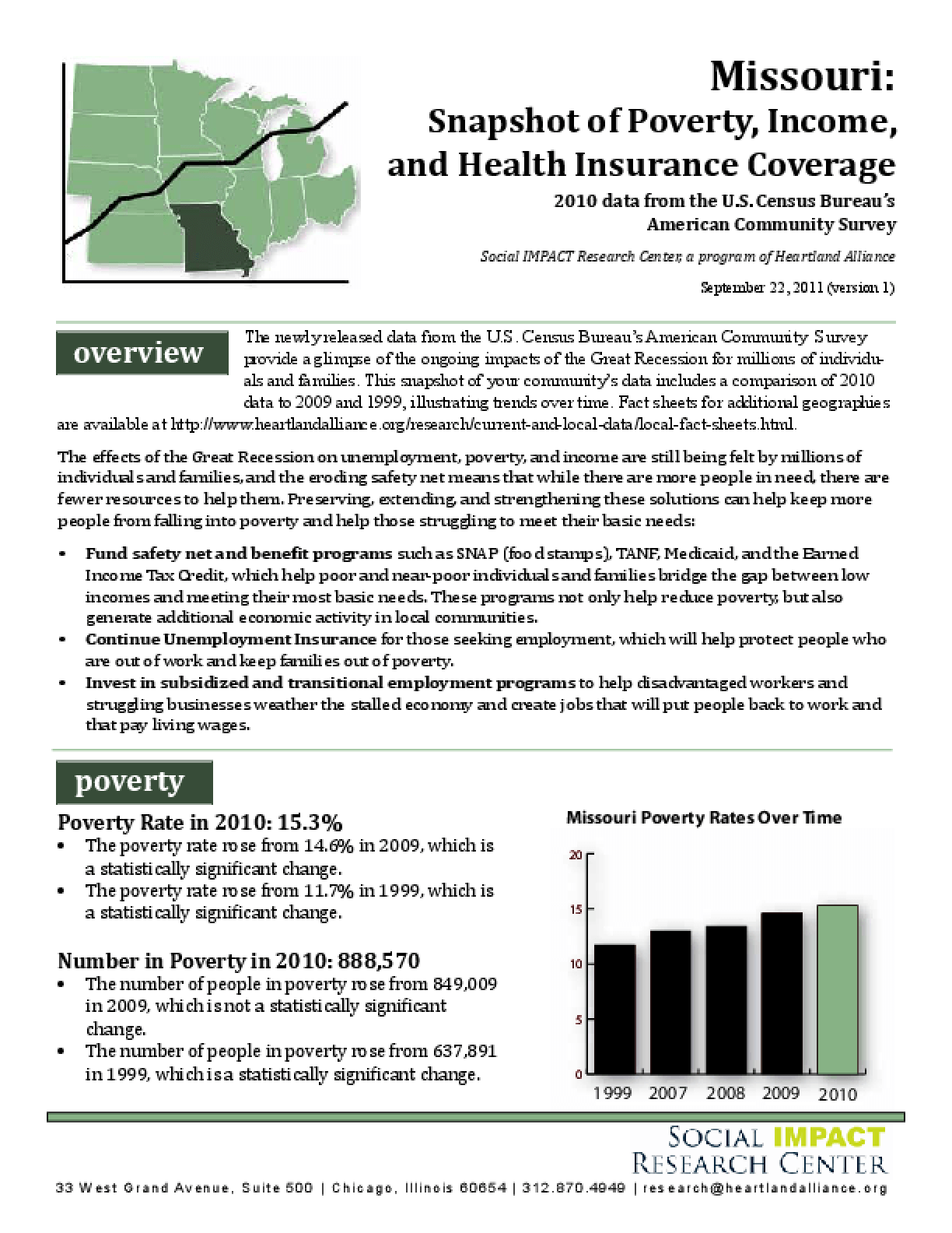 Missouri: Snapshot of Poverty, Income, and Health Insurance Coverage