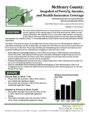 McHenry County: Snapshot of Poverty, Income, and Health Insurance Coverage