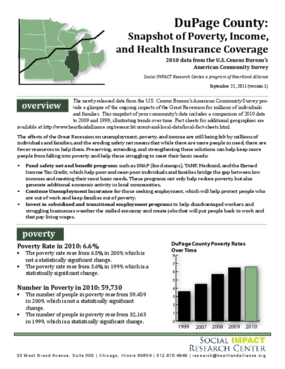 DuPage County: Snapshot of Poverty, Income, and Health Insurance Coverage