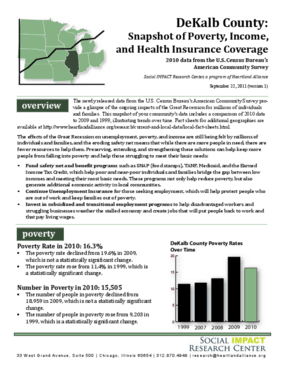 DeKalb County: Snapshot of Poverty, Income, and Health Insurance Coverage