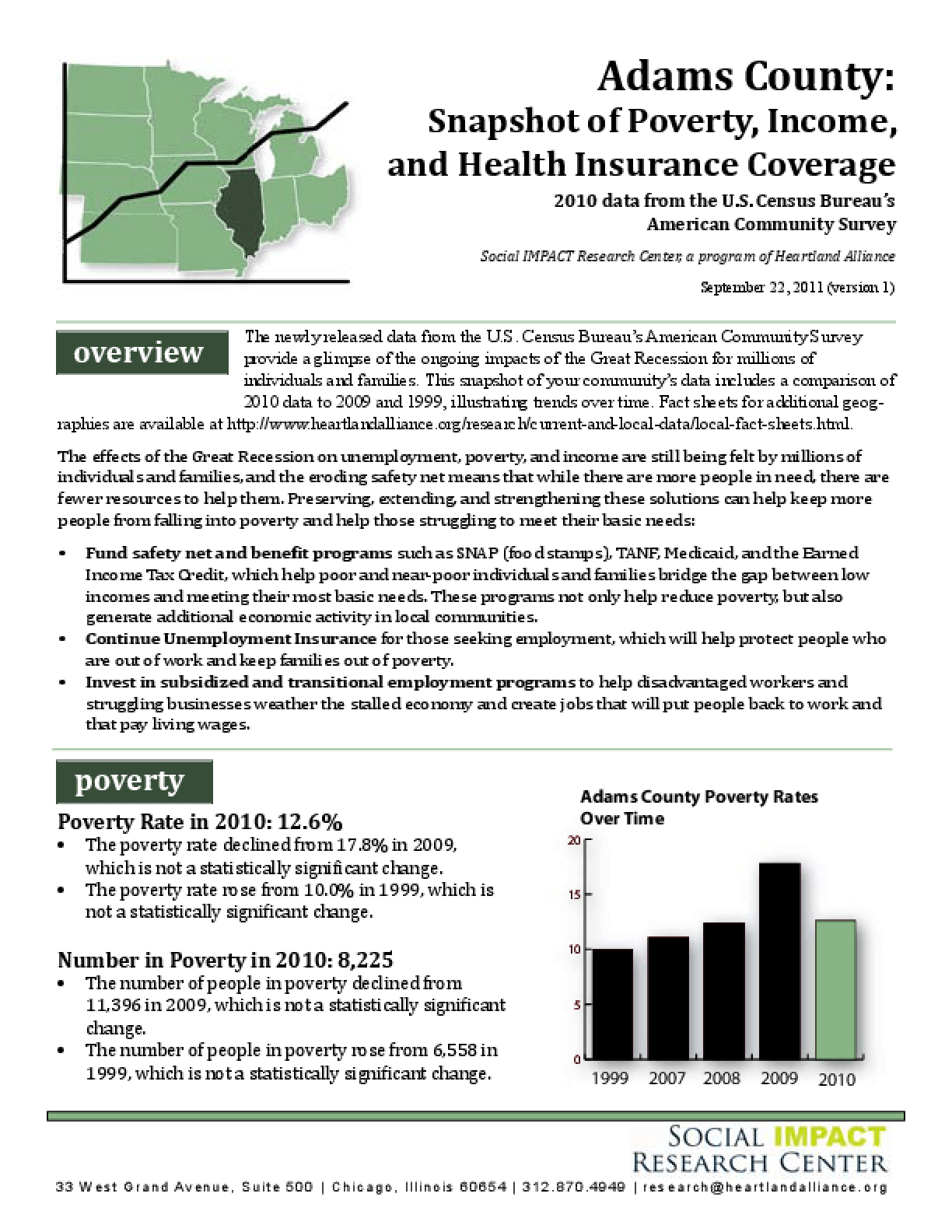 Adams County: Snapshot of Poverty, Income, and Health Insurance Coverage