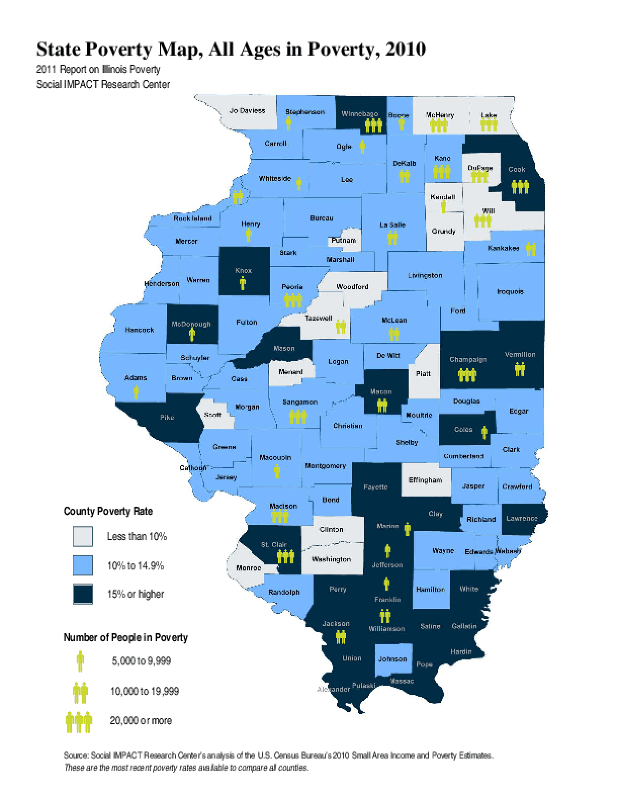 State Poverty Map, All Ages in Poverty, 2010