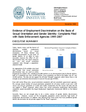 Evidence of Employment Discrimination on the Basis of Sexual Orientation and Gender Identity: Complaints Filed with State Enforcement Agencies, 1999-2007