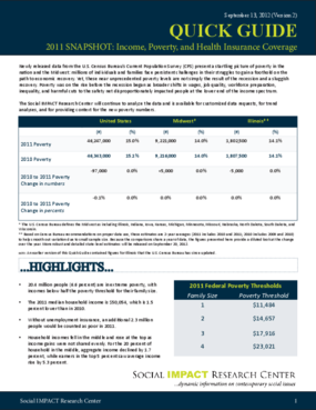 2011 SNAPSHOT: Income, Poverty, and Health Insurance Coverage