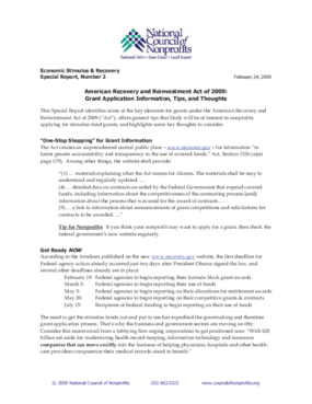 American Recovery and Reinvestment Act of 2009: Grant Application Information, Tips, and Thoughts