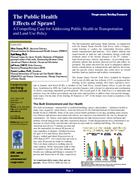 The Public Health Effects of Sprawl: A Compelling Case for Adressing Public Health in Transportation and Land Use Policy