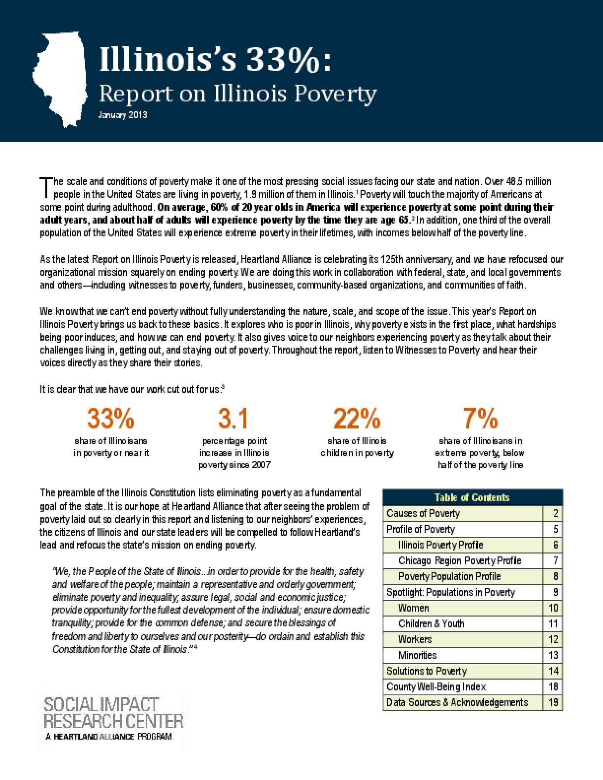 Illinois's 33%: Report on Illinois Poverty