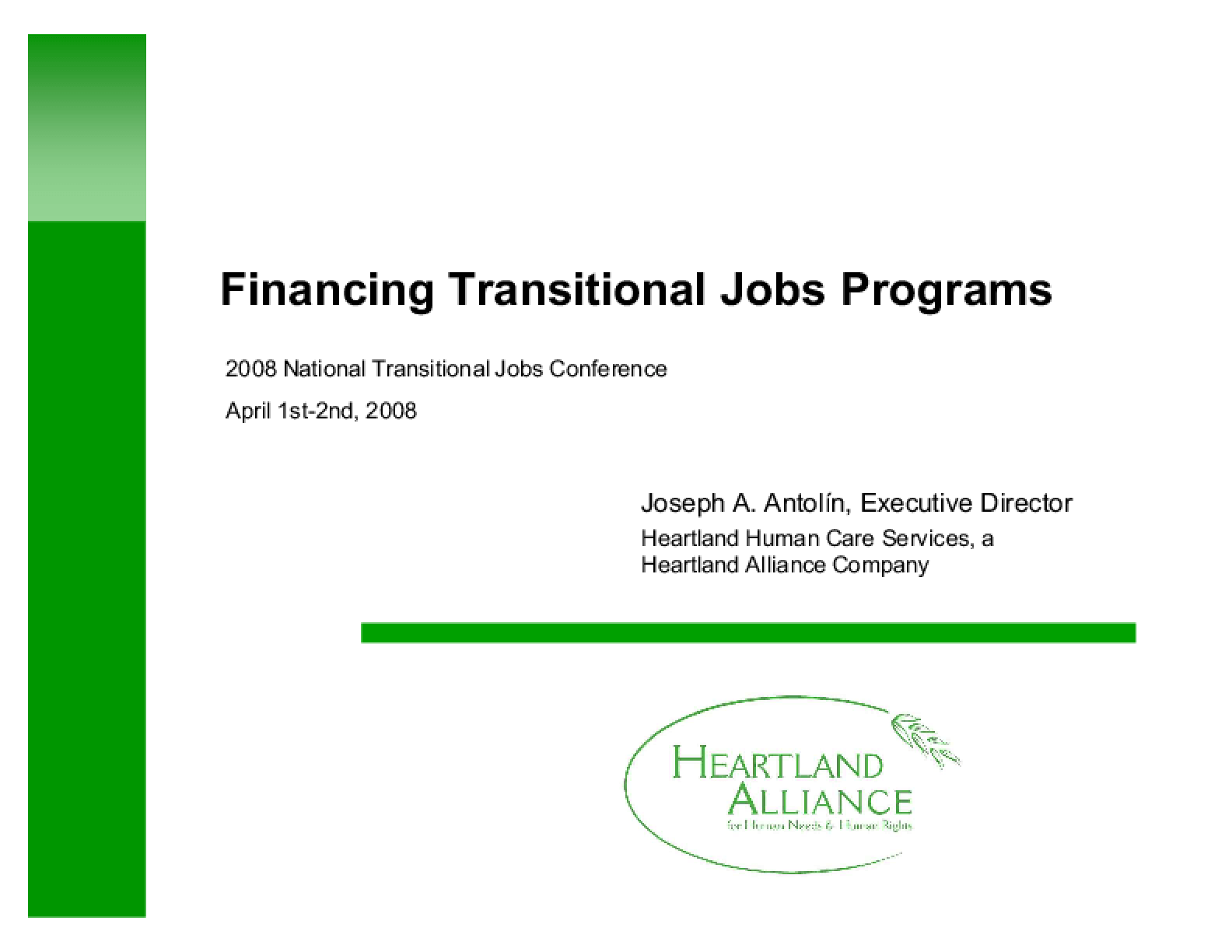 Financing Transitional Jobs Programs
