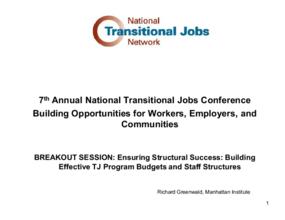 Ensuring Structural Success: Building Effective TJ Budgets and Program Structures