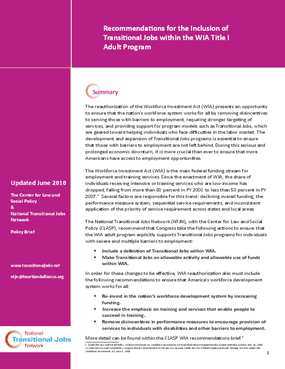 Recommendations for the Inclusion of Transitional Jobs within the WIA Title I Adult Program