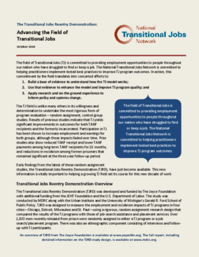 The Transitional Jobs Reentry Demonstration: Advancing the Field of Transitional Jobs