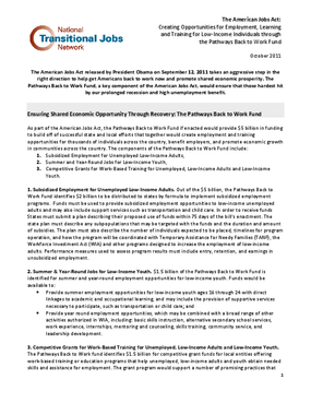 Pathways Back to Work Policy Statement, NTJN - FINAL, October 2011