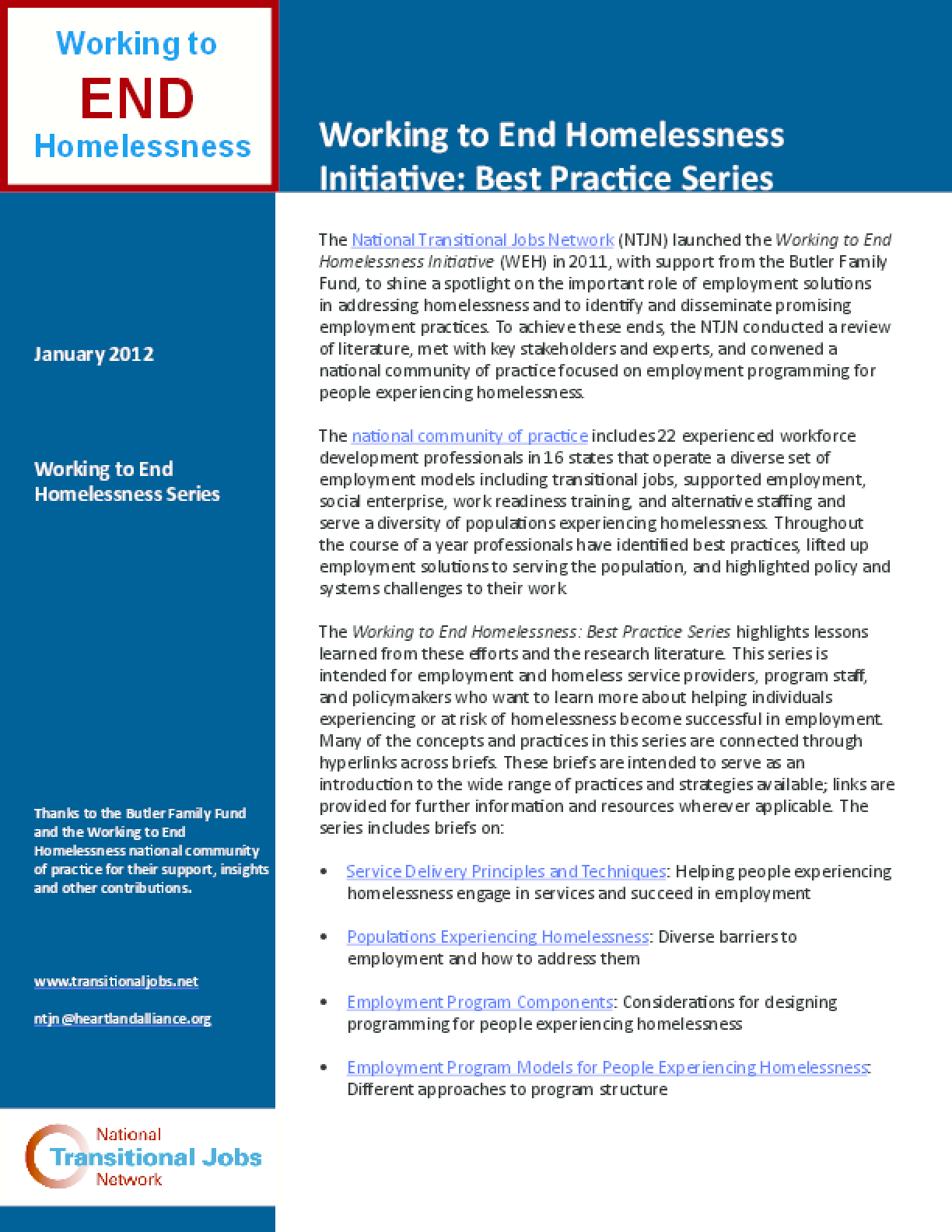 Working to End Homelessness Initiative: Best Practice Series