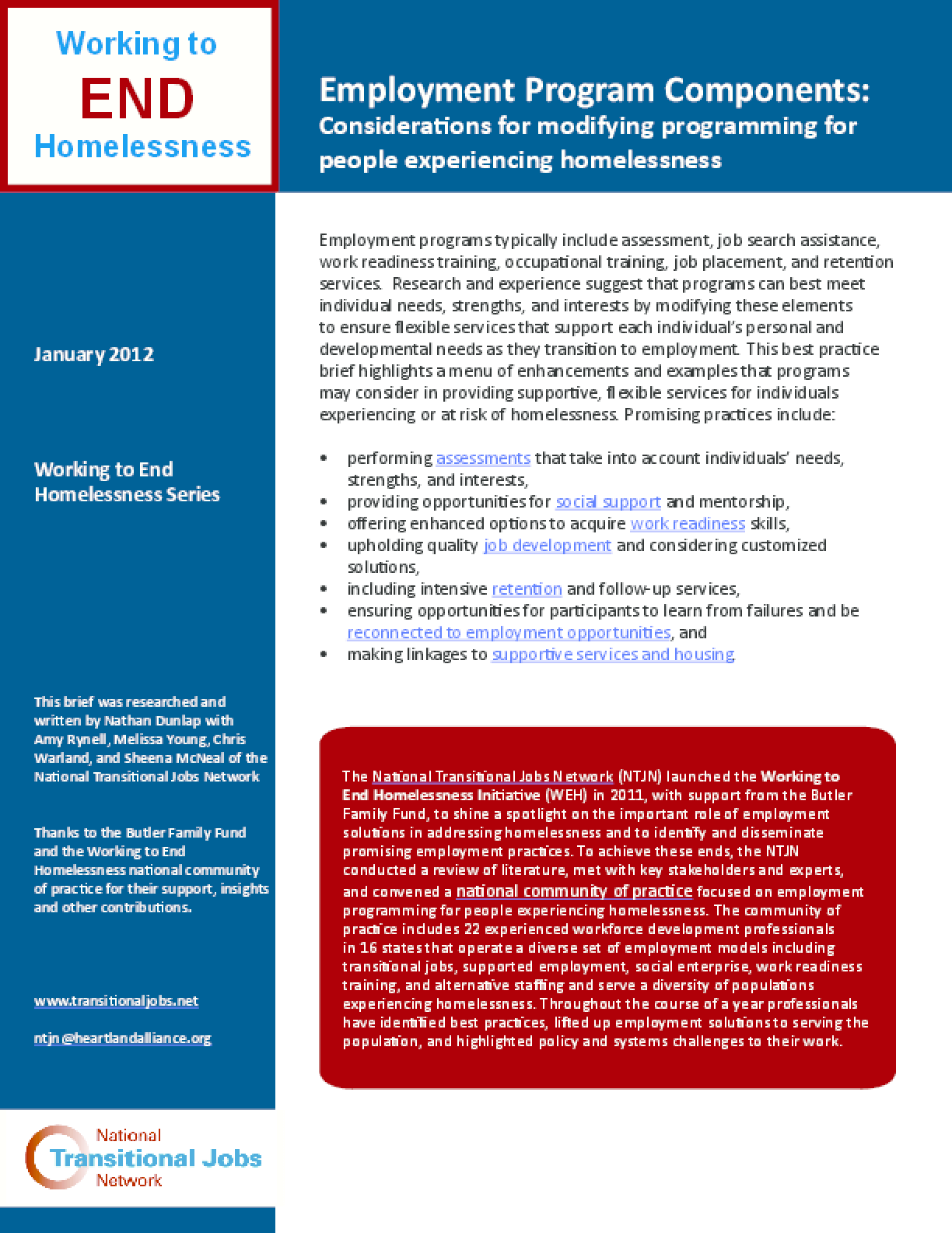 Employment Program Components: Considerations for Modifying Programming for People Experiencing Homelessness