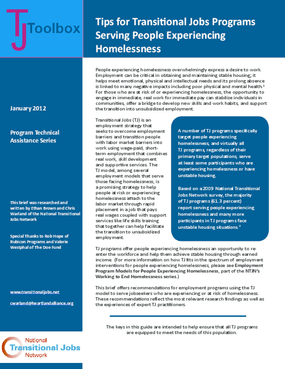 Tips for Transitional Jobs Programs Serving People Experiencing Homelessness