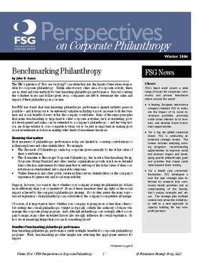Benchmarking Philanthropy