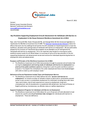 Key Provisions Supporting Employment Entry & Advancement for Individuals with Barriers to Employment in the House Democrat Workforce Investment Act of 2012
