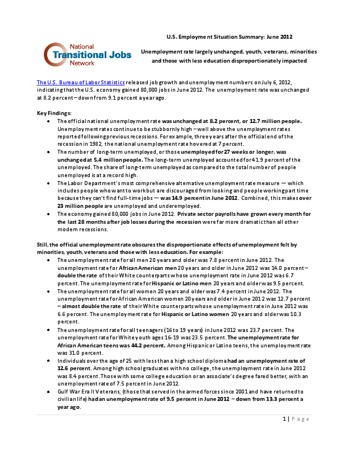 U.S. Employment Situation Summary: June 2012