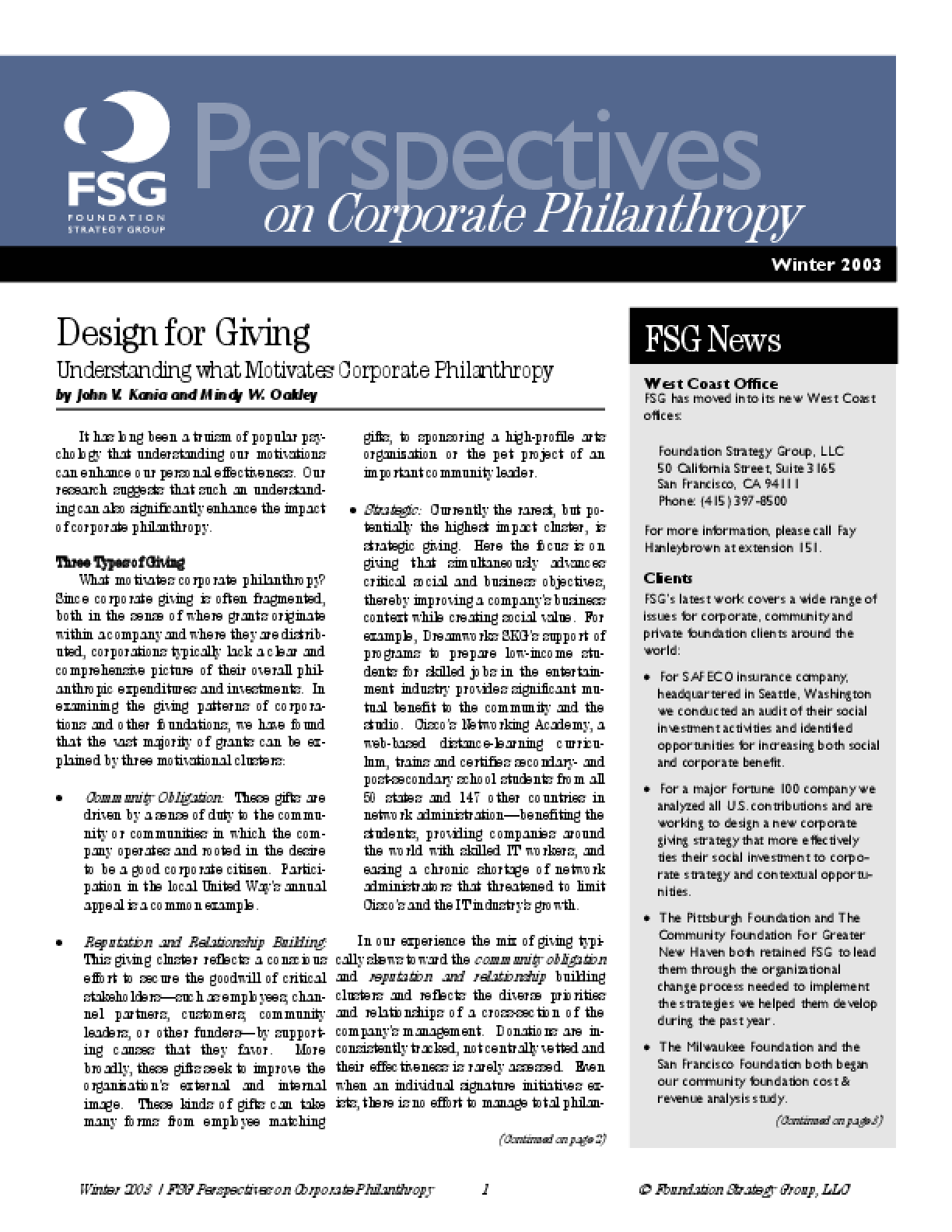 Design for Giving: Understanding What Motivates Corporate Philanthropy