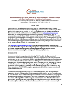 Recommendations to States in Modernizing Work Participation Outcomes throughSubsidized Employment and Transitional Jobs Programs