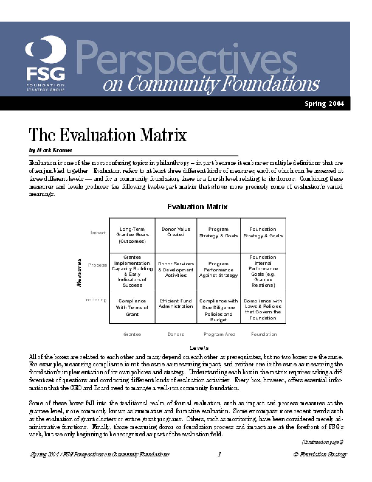 The Evaluation Matrix