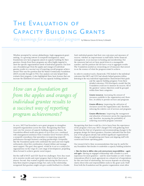 The Evaluation of Capacity Building Grants: Key Learnings for a Successful Program